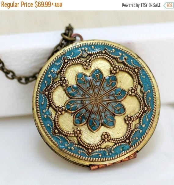 ON SALE Personalization Locket Necklace, turquoise blue locket,Jewelry,Necklace,Pendant,locket,brass locket ,filigree turquoise,38mm,Gift fo
