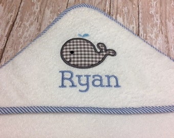 Personalized Infant Hooded Towel in Pink, Blue, White or Red with Stripe Trim for Boy or Girl