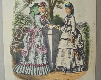 Vintage La Mode Illustree Print Victorian French Fashion Reproduction 1940s Vanity Decor