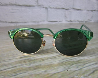 Small Eyebrow Frame Sunglasses - Green Sunglasses Made in Taiwan