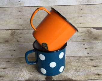 Vintage Enamel Cups - Orange - Blue and White Polka Dots - Set of Two