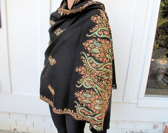 "Paisley Shawl with Silk Hand Embroidery on Wool, from Kashmir -38""x78""inches"