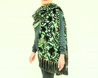 Cut Velvet Shawl in Green, Sea Foam Blue, and  Purple with 72 Gorgeous  Silk Tassel Fringe by the Old Silk Route