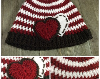 Simple Hearts and Stripes Beanie Cap (12 Months - 3 Years) ~ Crochet