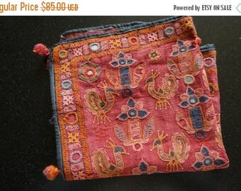 ON SALE Antique Textile, Tribal Textile, Mirrorwork, Handmade India Textile, Shipping Included in the U.S.