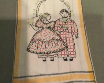 Vintage embroidered wedding dish towel