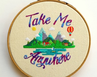 Mountain City Travel Digital Embroidery Wall Hanging