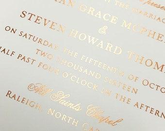 Foil Wedding Invitation, Rose Gold, Gold Foil, Silver Foil, Foil Stamped, Foil Printed, Pink Wedding, Printed Invitation, Blush