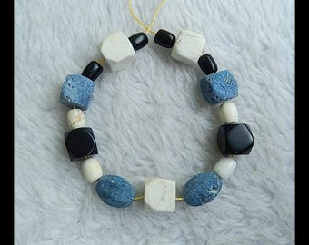 New Design!! Blue Fossil Coral, White agate And  Obsidian Pendant Bead Set,Bracelet Gemstone Bead,11x11mm,8x6mm,24.2g(b0174)