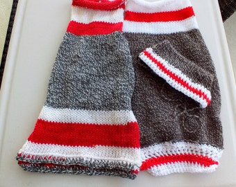 SPECIAL SALE Two hand knit Sock Monkey Sweaters with hat size large wool