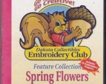 Dakota Collectibles Machine Embroidery Designs - Spring Flowers - 20 Designs + Accents
