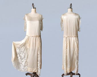 1920s Wedding Dress / Cream Silk 20s Dress / Bridal / Simple Minimal Stunning
