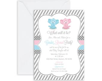 Printed Gender Reveal Elephant baby shower invitation, pink and blue baby shower invitation, he or she, typography(FREE ENVELOPES)