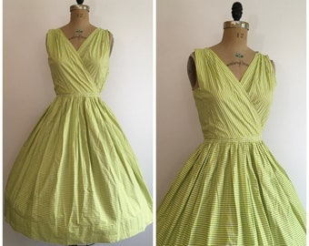 Vintage 1950s Green Stripe Print Cotton Dress 50s Sundress