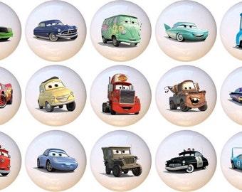 Set Of 15 Disney Cars Lightning McQueen Mater Ceramic Drawer Pull Cabinet  Knobs