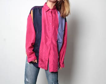 silk 90s COLOR BLOCK slouchy vintage KRISS kross shirt