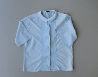 Vintage 1960s Blouse. 60s Blouse. Baby Blue Top. Blue Blouse. Bermuda Collar. Schoolgirl. Collegiate. Medium Large
