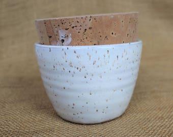 Wheel thrown speckled stoneware cork lid stash jar, ready to ship