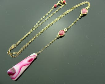 Ruby and Pink Agate 14k Gold Filled Gemstone Y Necklace