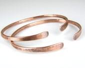 Hammered Copper Wire Bracelet, BOHO Stacking Copper Bangle, Womens Rustic Antiqued Copper Bracelet, 10 Gauge