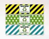 Garbage Truck Water Bottle Labels