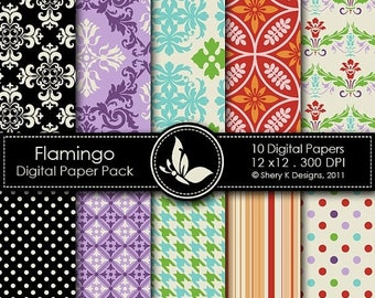 40% off Flamingo Paper Pack - 10 Digital papers - 12 x12 - 300 DPI