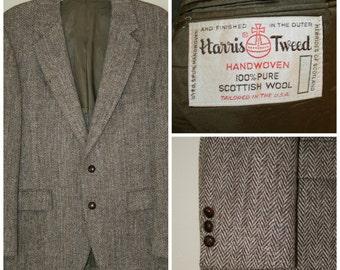 SALE Harris Tweed Vintage 100% Pure Scottish Wool Brown Two Button Men Sport Coat Blazer size 40 R