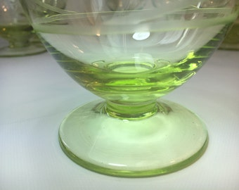 Set of 12+ apple green glass stemware swirl etched, hand made,