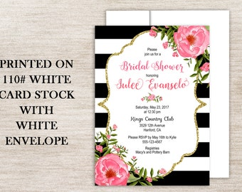 Pink and Gold glitter, Pink and Black Stripe Bridal Invitation, Gold glitter, PinkFloral and Black Stripe, Gold Glitter Floral