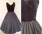 Vintage 1950s Black Velvet Top and Skirt / Black Tie Dress / Small Medium