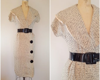 Vintage 1950s Rayon Dress / Rayon Wiggle Dress / Sexy Fitted Dress / Beige and Black / XS