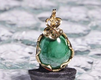 Malachite Pendant Wire Wrapped 14K Gold Filled Gemstone Birthday Gift For Her