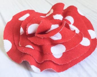 Fourth of July Bow - Red Hair Bow - Patriotic Hair Bow - Girls Hair Clip - Polka Dot Hair Bow - Memorial Day Bow - Flower Hair Clip