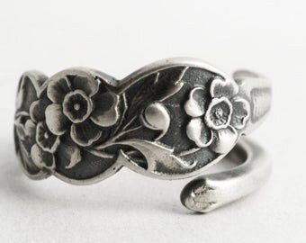 Petite Buttercup Ring, Flower Ring, Floral Spoon Ring Sterling Silver, 925 Antique Gorham H184 ca 1900, Customized Ring Size 5 6 7 8 (6617)