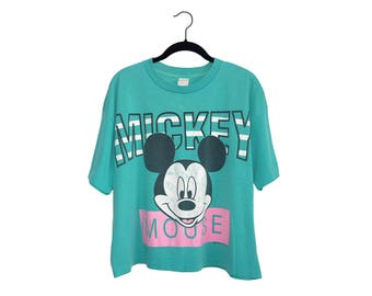 Vintage Mickey Mouse Bright Teal Huge Graphic Oversize Crop Top T-Shirt, Made in USA - Large