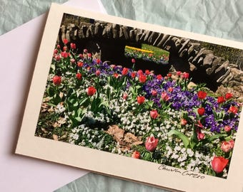 Centennial Park in Springtime / Nashville Tennessee Landmark / Tulips / Flower Card / Blank Note Card with Envelope / Mother's Day Card