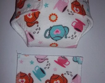 Baby Doll Diaper/wipe - teacups and flowers  - adjustable for many dolls such as bitty baby