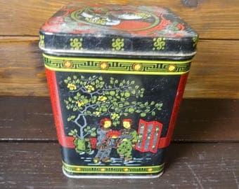 Vintage Chinese Tea Tin Canister Kitchen Decor Kitchen Food Storage Box circa 1970-80's / English Shop