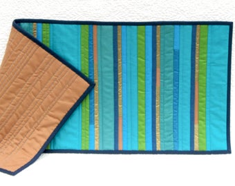Peacock blue and green patchwork table runner, modern quilted table runner