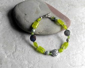 Lime green bracelet, LymeAid for Melissa fundraiser bracelet, womens fashion, gifts for women, silver and green, Mothers day gift for her