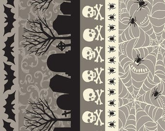 Spooktacular Spooky Stripe Grey 101.107.15.2  by Maude Asbury for Blend Fabrics