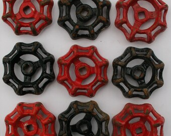 9 Red and Black Faucet Handles-Valve Handles-Shipping Special-Steampunk , Potting Shed, Old handles,Garden -Industrial Handles,Potting Bench
