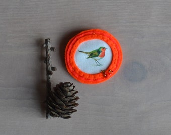 robin bird brooch - neon orange felt brooch - felt and beads bird brooch - gift for her - woodlands bright brooch