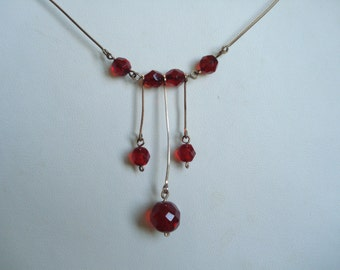Art Deco Necklace Vintage Red Glass beads 30's