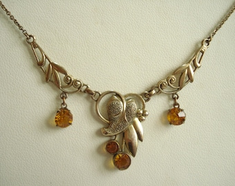 Art Deco Necklace Amber Glass and GF 1920's 1930's