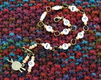 Bronze Row Counter Bracelet for Knitting and Crochet