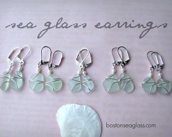 Blue Sea Glass Earrings for a Beach Wedding Blue Bridesmaid Gifts Real Beach Glass Genuine Sea Glass Jewelry Seaglass