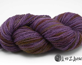 Hand Dyed Royal Baby Alpaca Yarn Chunky Weight 480 yards Royal Violet and Gold
