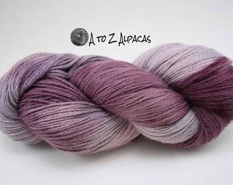 SUPER-SIZED SKEIN! Hand Dyed Pure Alpaca Yarn Worsted Weight - Grape Twist