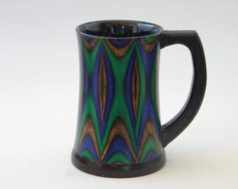 Custom striped birch veneer wood mug/tankard Renaissance fair style